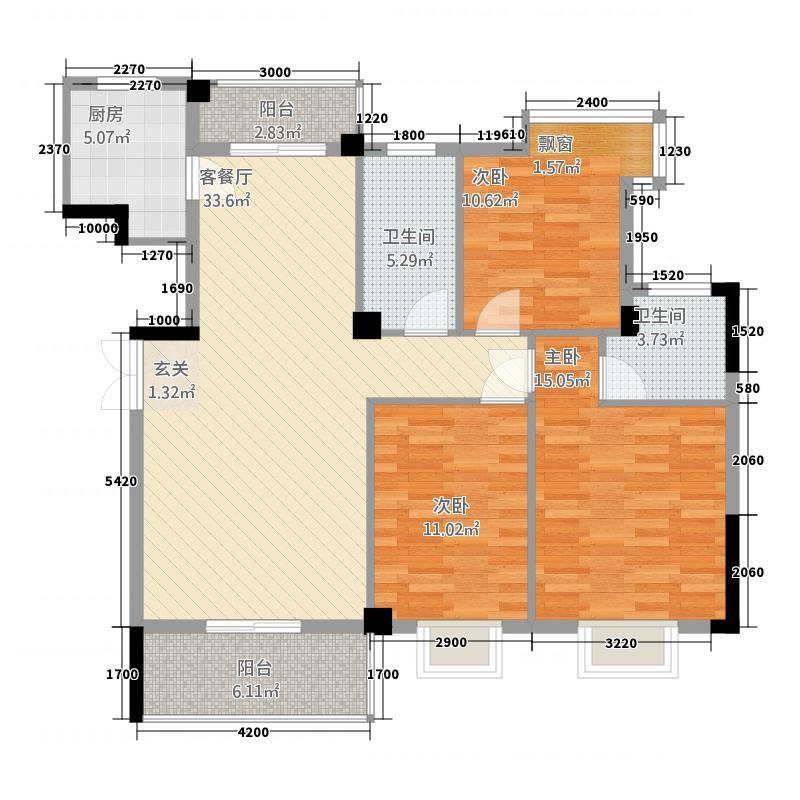 香山怡景111.37㎡D-1户型3室2厅2卫1厨