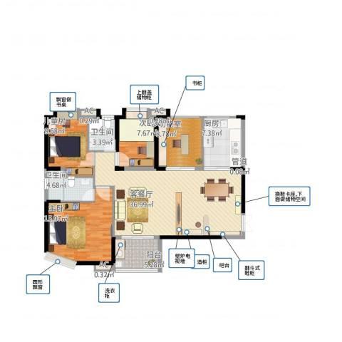 海门东恒盛国际公馆3室1厅6卫1厨143.00㎡户型图