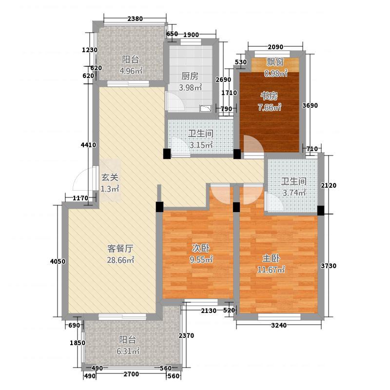 景乐雅苑32115.20㎡B型户户型3室2厅2卫1厨