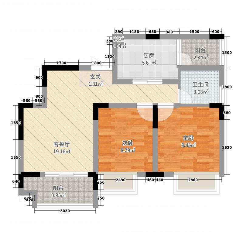 云宾・美丽湖2.20㎡B2单卫户型2室2厅1卫1厨