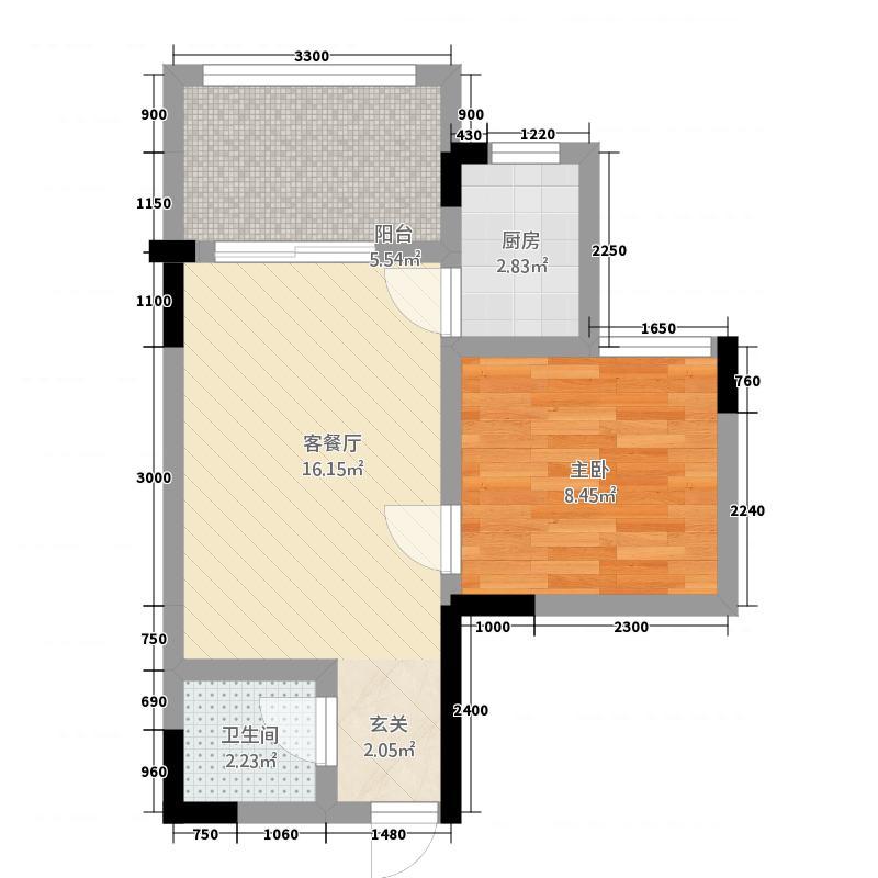 龙武月半湾旅游度假区47.72㎡QQ图片户型1室1厅1卫1厨