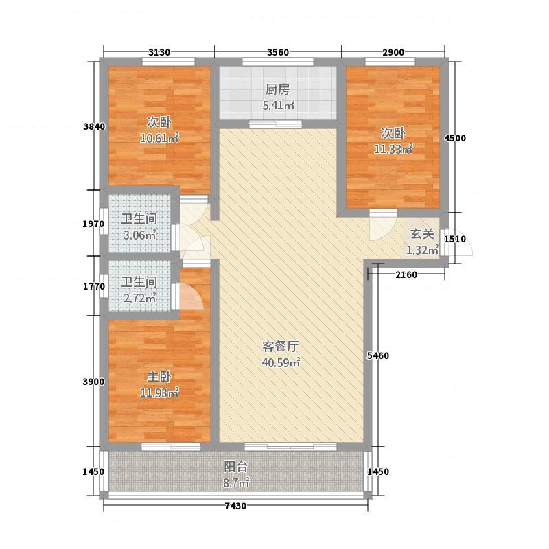 翠堤春晓5137.62㎡5#标准层-C户型3室2厅2卫1厨