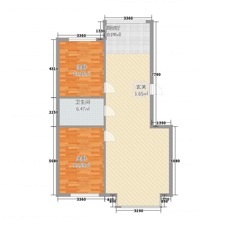 鸿泽嘉园户型2室2厅1卫1厨
