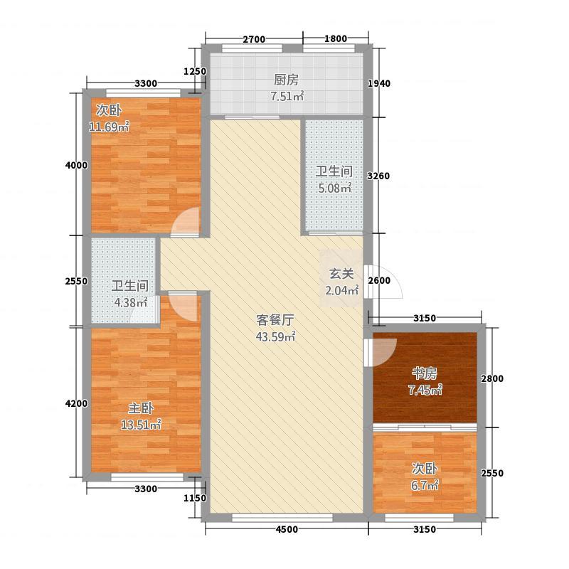 广泽果松小镇127.20㎡户型3室2厅2卫1厨