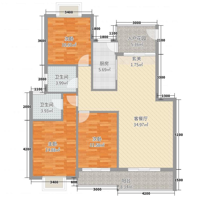 巢湖金科世家3.20㎡A3户型3室2厅2卫1厨
