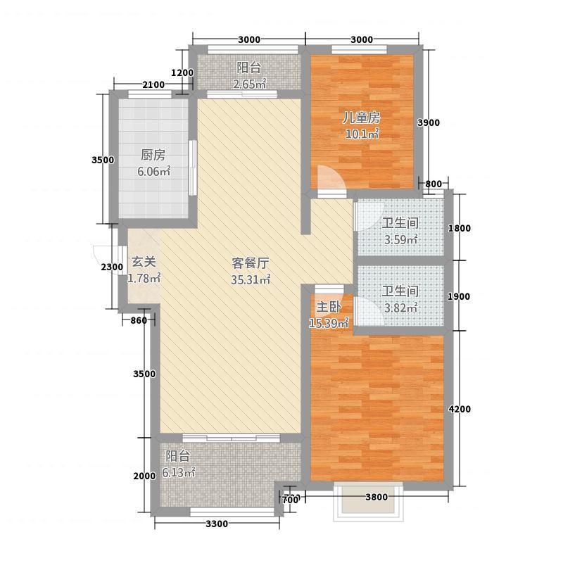 金域观澜22115.82㎡户型2室2厅2卫1厨