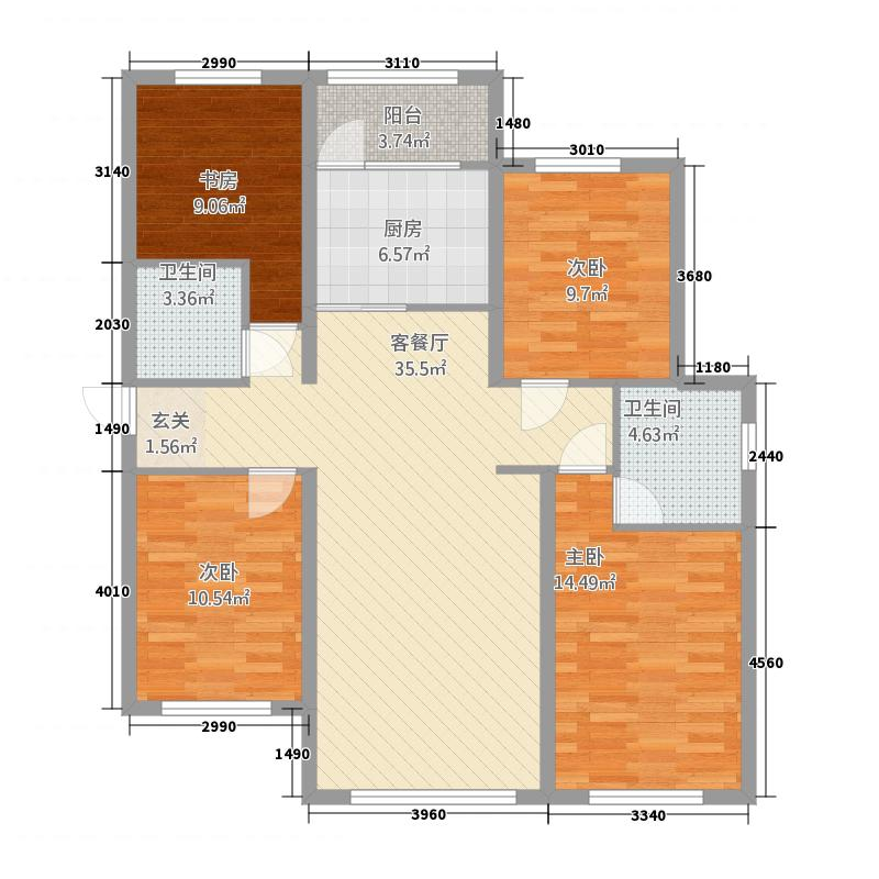 城南壹品4144.52㎡户型4室1厅2卫1厨
