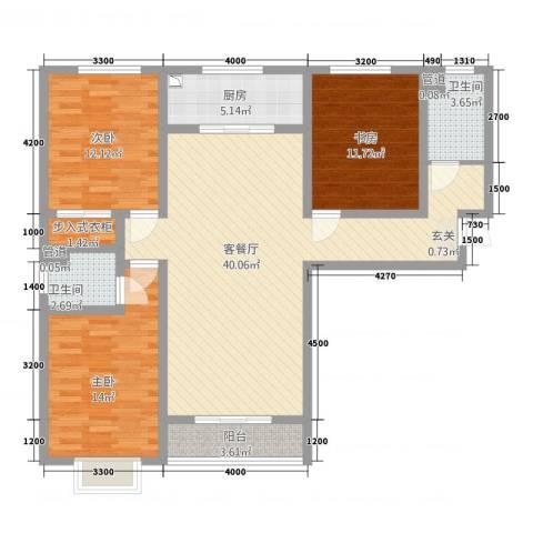 翠堤春晓3室1厅2卫1厨6138.00㎡户型图