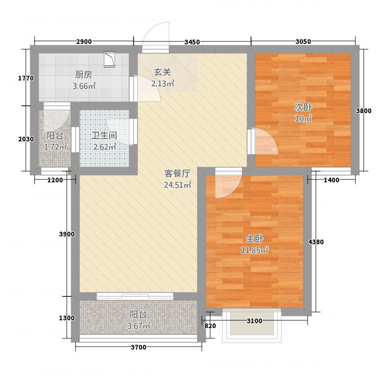 金碧园2168.20㎡A2户型2室2厅1卫1厨