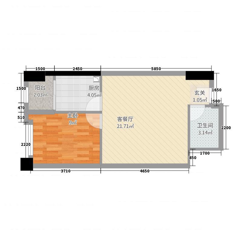 金地俊园5.28㎡G户型1室2厅1卫1厨