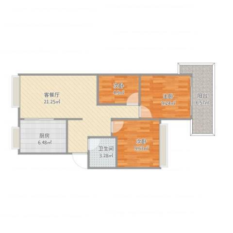 水涧新村3室1厅1卫1厨83.00㎡户型图