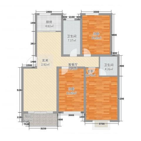 全华顺景苑3室1厅2卫1厨123.00㎡户型图