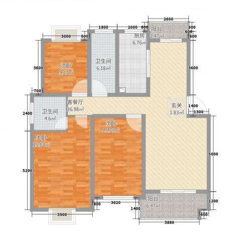全华顺景苑3室1厅2卫1厨108.40㎡户型图