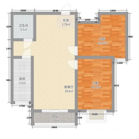 翠堤春晓2室1厅1卫1厨68.62㎡户型图
