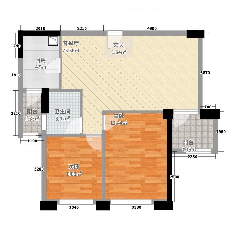 金地俊园87.18㎡E户型2室2厅1卫1厨