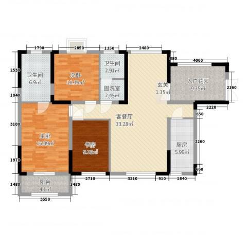 华仪富丽华城3室2厅2卫1厨137.00㎡户型图