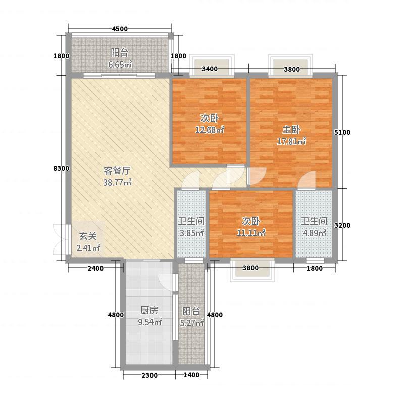 银城广场二期A户型3室2厅2卫1厨