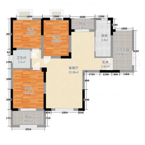 华仪富丽华城3室1厅1卫1厨89.47㎡户型图