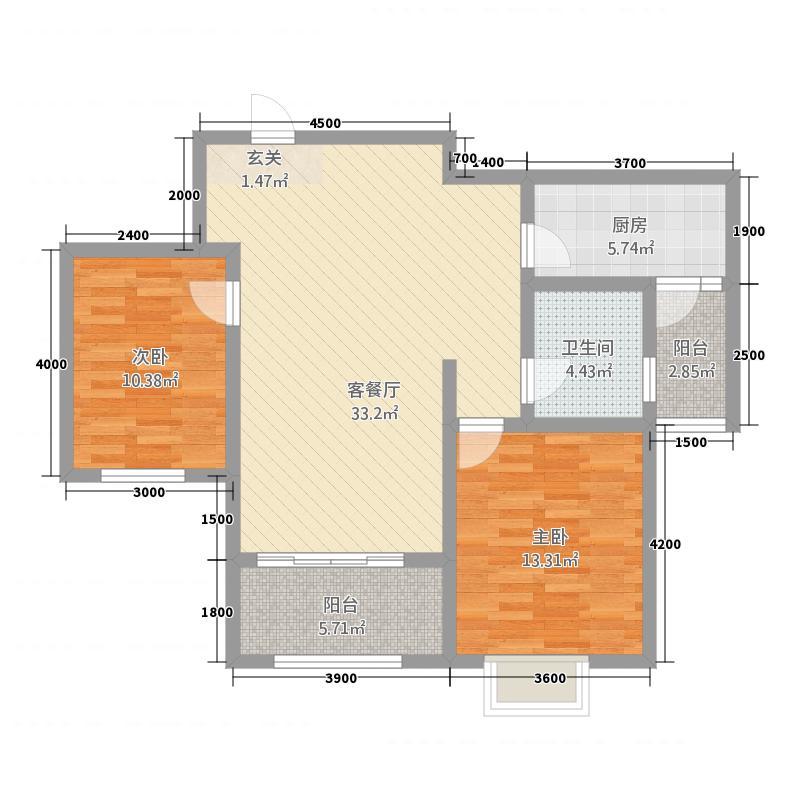 金域观澜122114.52㎡1B户型2室2厅1卫1厨