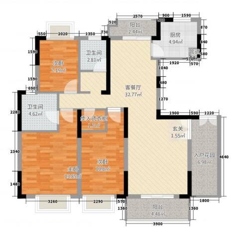 湖滨水岸3室1厅2卫1厨135.00㎡户型图