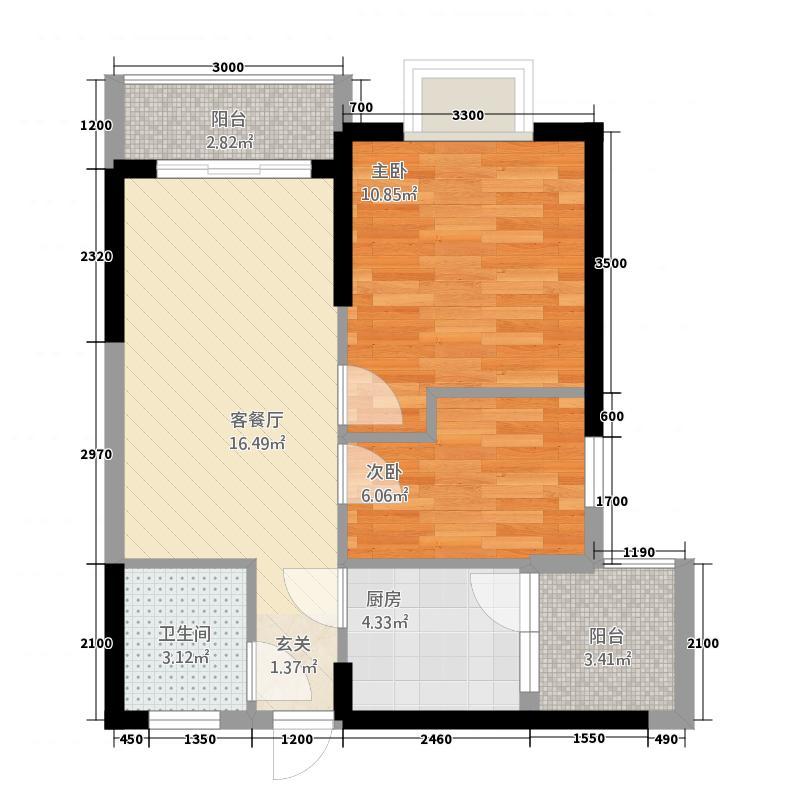 凤翔花园6.88㎡A-1户型2室1厅1卫1厨