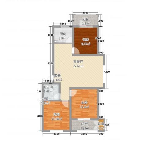 航顺悦澜山3室1厅1卫1厨75.09㎡户型图