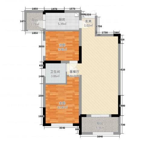 华仪富丽华城2室1厅1卫1厨87.00㎡户型图