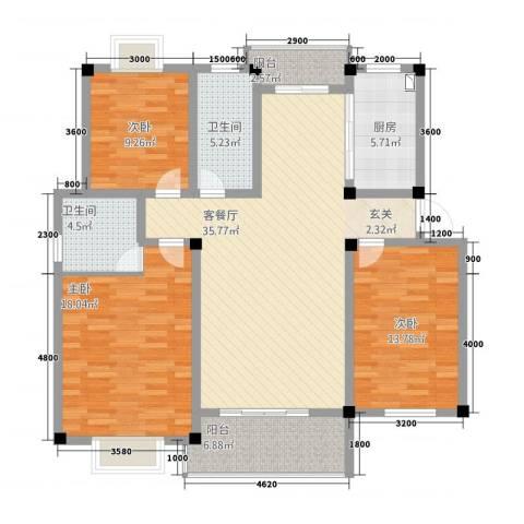 全华顺景苑3室1厅2卫1厨101.76㎡户型图