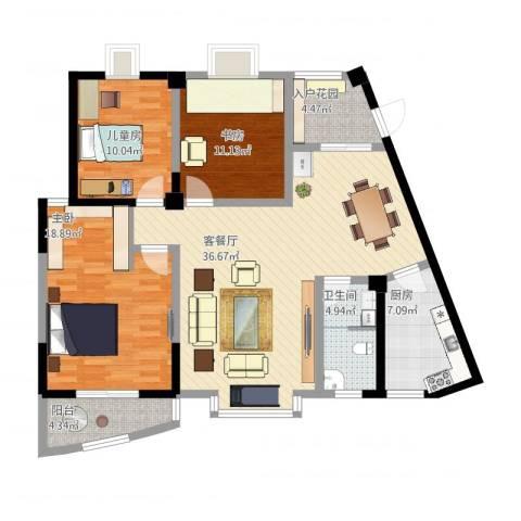 东方阁3室1厅1卫1厨140.00㎡户型图