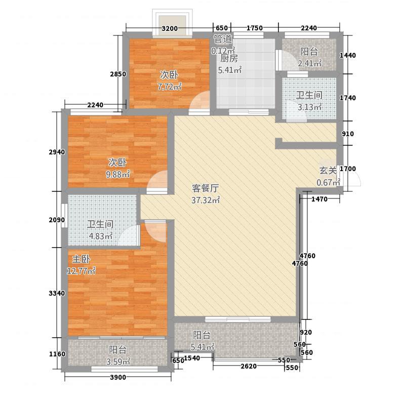 吉地澜花语3.20㎡户型3室2厅2卫1厨