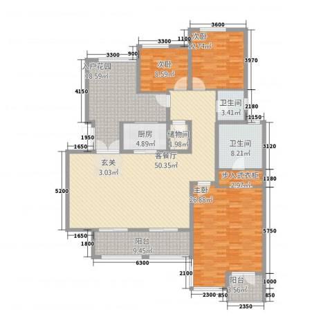龙湖弗莱明戈别墅3室1厅2卫1厨214.00㎡户型图