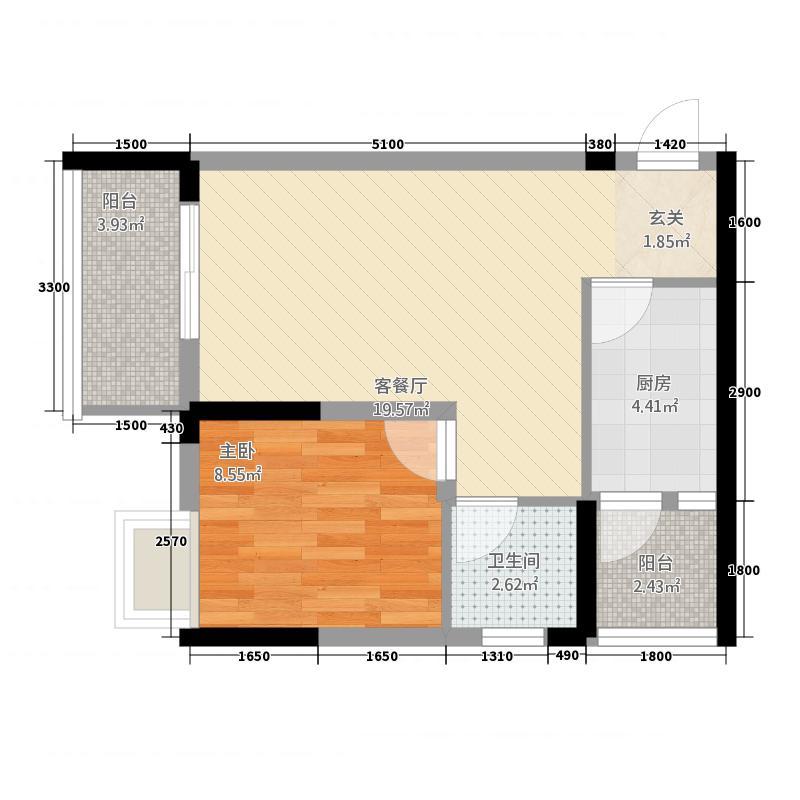 合川宝润国际53.40㎡6号楼1号房户型1室2厅1卫1厨