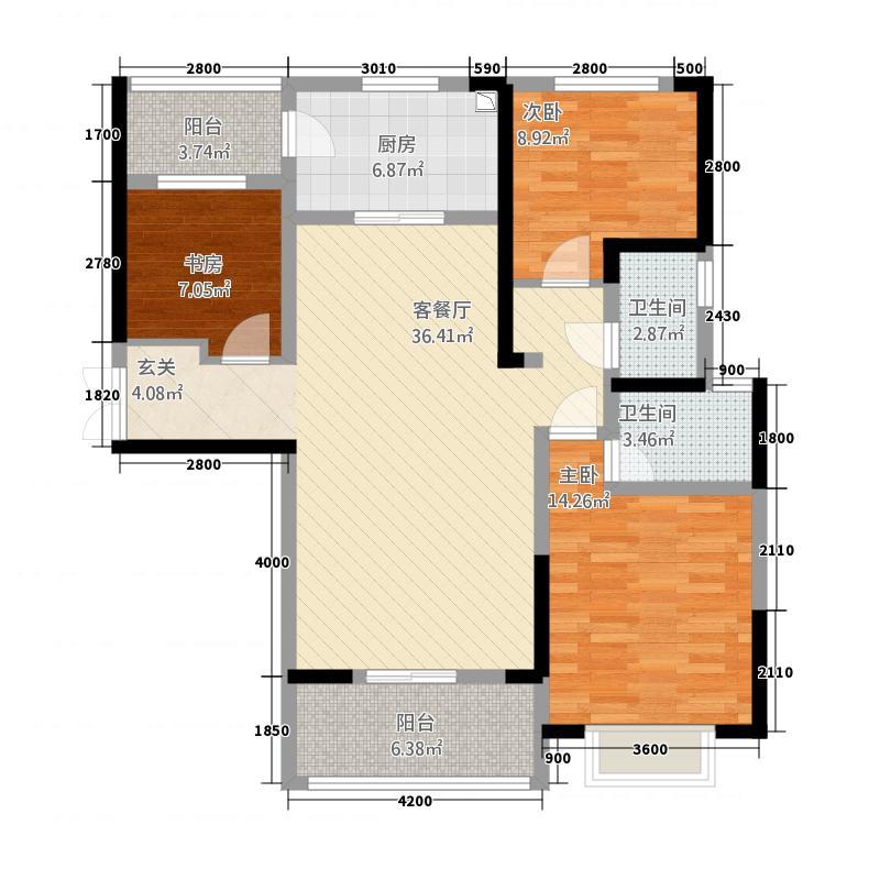 兰石睿智名居123.34㎡户型3室2厅2卫