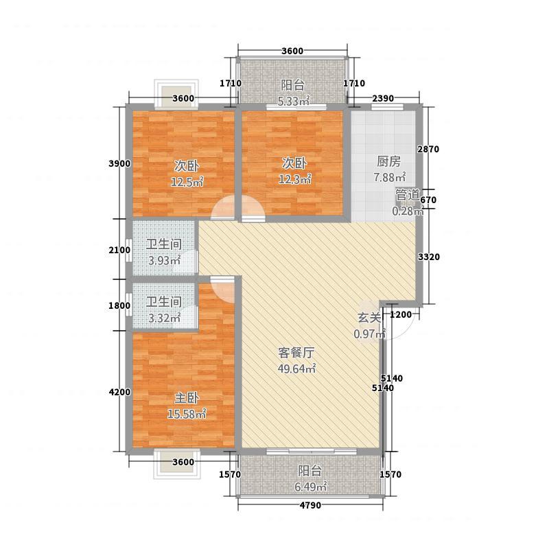 熙龙国际4322126.00㎡户型3室2厅2卫1厨