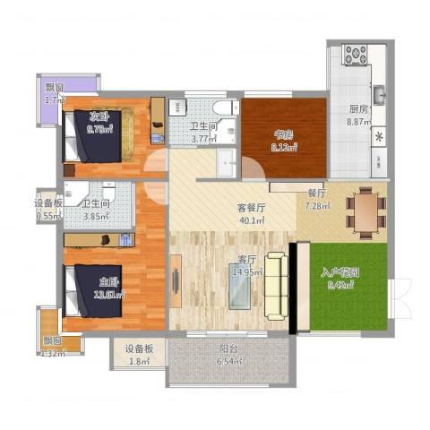 富中蝴蝶谷3室1厅6卫1厨116.00㎡户型图