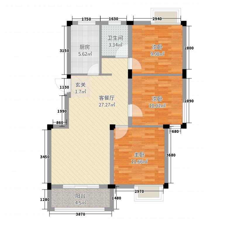 星凯钻石花苑18.42㎡E户型3室2厅1卫1厨
