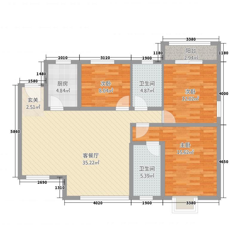 左岸明珠・香邸127.00㎡阳光舒居户型3室2厅1卫1厨