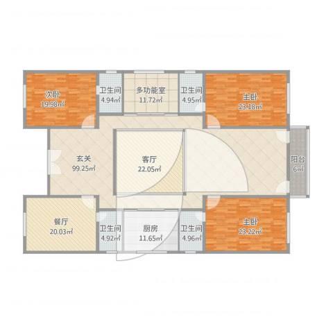 小四合院3室2厅4卫1厨348.00㎡户型图