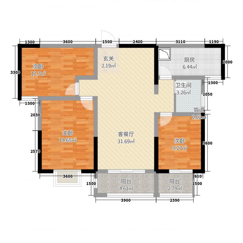 正大华庭户型3室2厅1卫1厨
