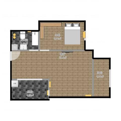 康泽佳苑1居1室1厅1卫1厨58.00㎡户型图