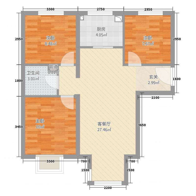 浩泽园32117.62㎡户型3室2厅1卫1厨