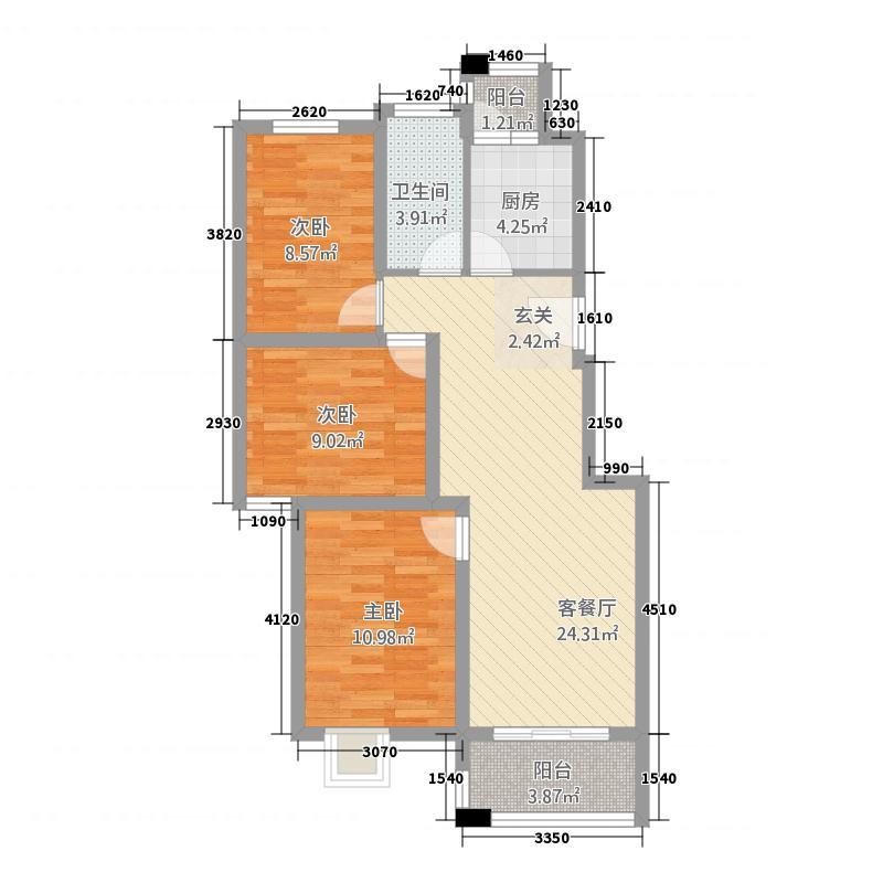 丰盛中央花园5.81㎡A户型3室2厅1卫1厨