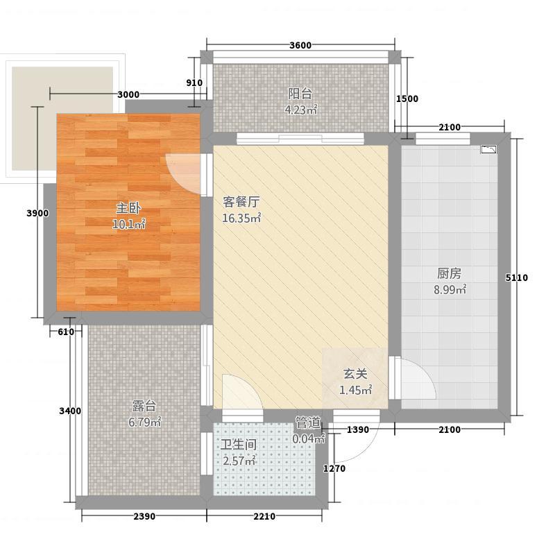锦绣蓝湾1167.82㎡F户型1室1厅1卫1厨