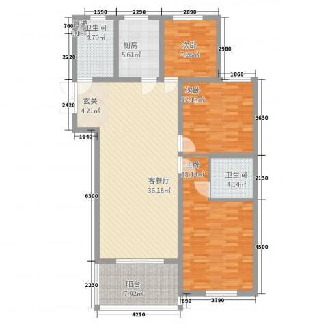 兆盛金色华庭3室1厅2卫1厨632132.00㎡户型图