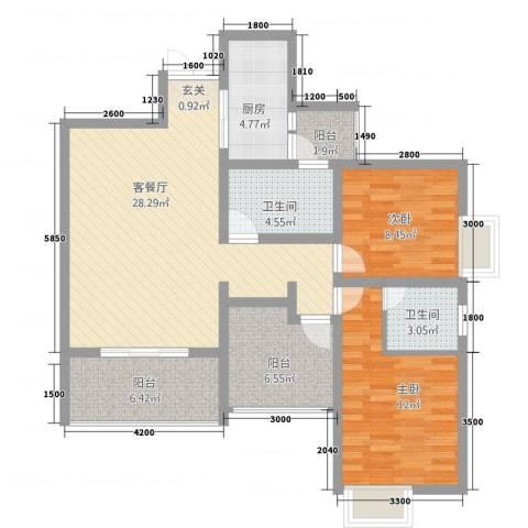 恒森・滨湖晓月2室1厅2卫1厨88.75㎡户型图