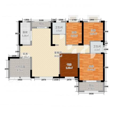 华仪富丽华城4室1厅2卫1厨138.00㎡户型图