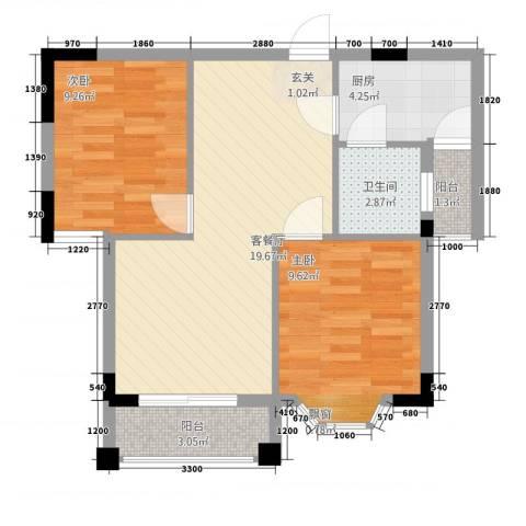 金城银都嘉园2室1厅1卫1厨50.02㎡户型图