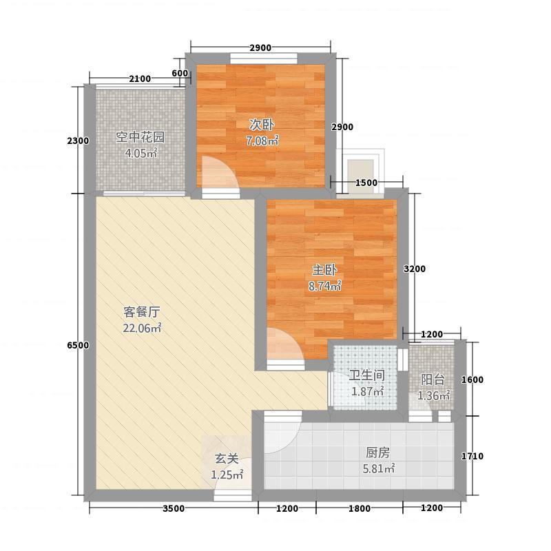 恒森・滨湖晓月67.47㎡C户型2室2厅1卫1厨
