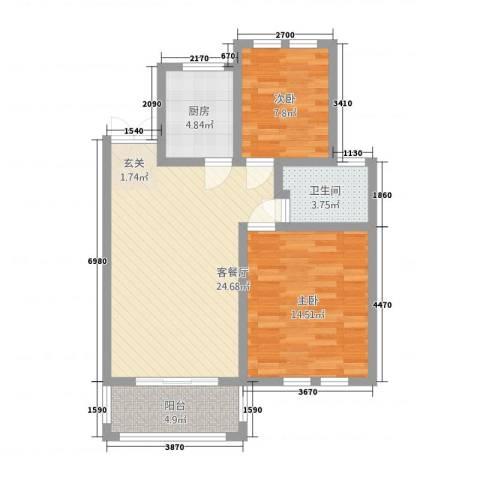 兆盛金色华庭2室1厅1卫1厨4228.00㎡户型图
