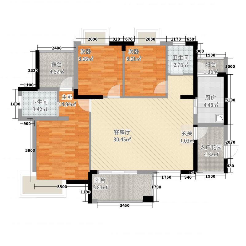 公园里132111.52㎡A1户型3室2厅1卫1厨